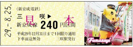 8月25日に新京成電鉄が「ふなっしートレイン運行記念乗車券」を発売でなっしー!